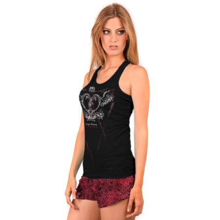 AEA Woman's Pyjamas Atlantis  Penitent Heart Solid Black - Red