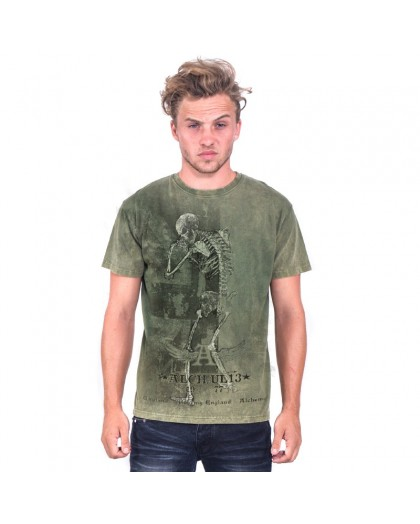 AEA Man's T-shirts   Grunge flag Retro Stone Army green