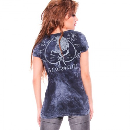 AEA Woman's Top Sasha  Deco Skull  Navy Stucco