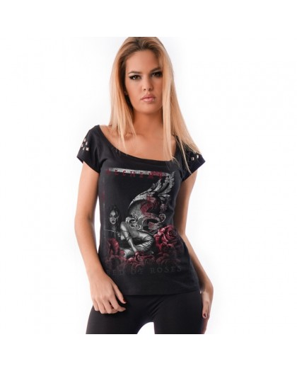 AEA Woman's Top Melrose Old Silver Studs  Valkyrie roses Solid Black