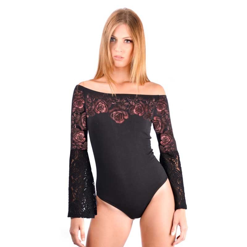 "AEA Woman's body suit Brigitte ""Roses"" Soild Black"