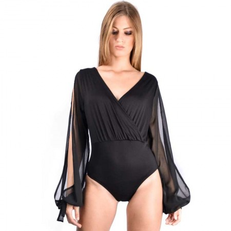 "AEA Woman's Body Suit Sonja ""Skull Shine"" Solid Black"