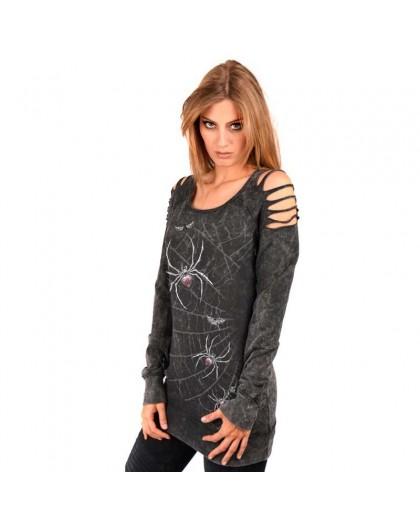 "AEA Woman's Sweat-shirt Fangs ""Spidrasica"" Marlite Black"