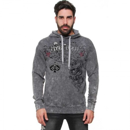 "AEA Man Hoodie ""Crounching Dragon"" Vintage Super Marlite Black"