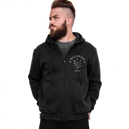 "AEA Man Zip Hoodie ""Danger Soul"" Solid Black"