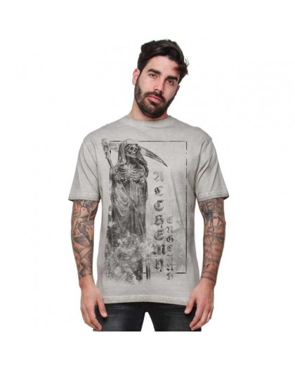 "AEA Man t-shirt  ""Stone Reaper"" Oil Dye Bright Grey"