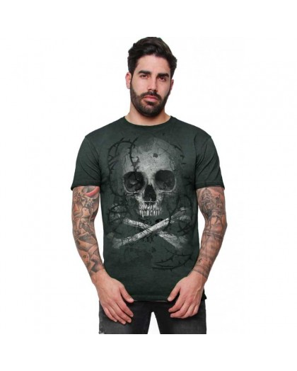 "AEA Man t-shirt  ""Remains"" Oil Dye Green"