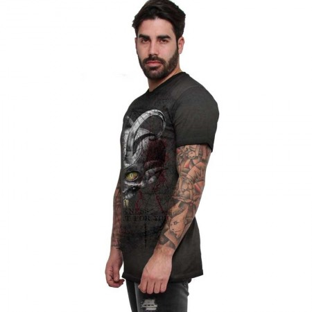 "AEA Man t-shirt  ""The Hornde One"" Oil Dye Anthracite"