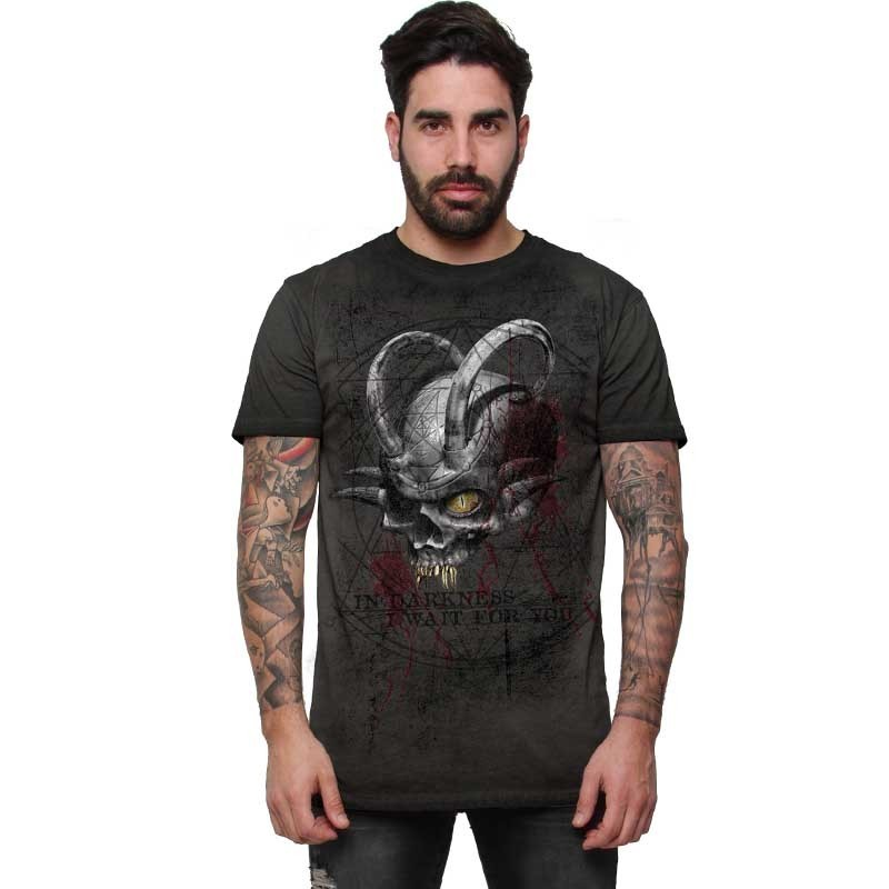 """AEA Man t-shirt  """"The Hornde One"""" Oil Dye Anthracite"""