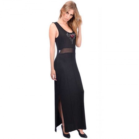 "AEA Woman's Dress Ticia ""Devil Heart"" Solid Black"
