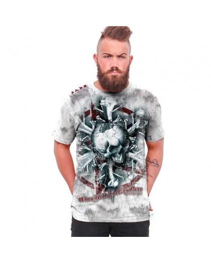 "AEA Man t-shirt  ""When Hell Freezes"" True Religion Vintage Grey"
