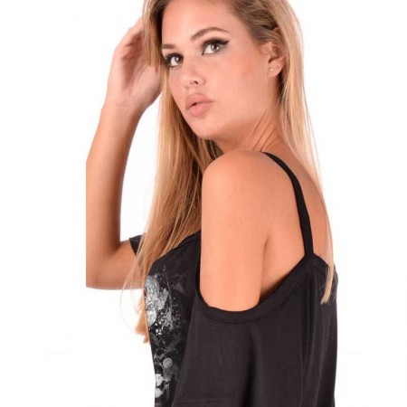 AEA Woman's Asymmetrical Top Nicole  Vie on Mort Solid Black