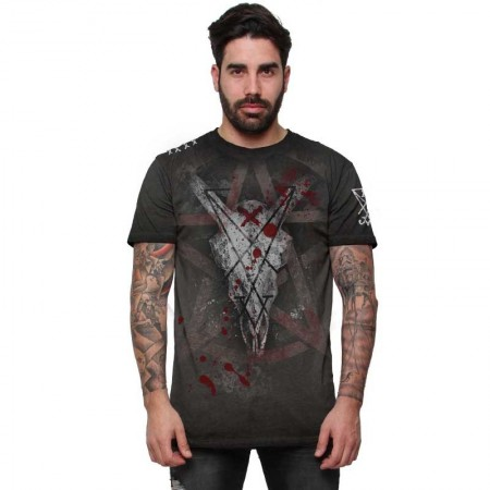"AEA Man t-shirt  ""Marked for Death"" Oil Dye Anthracite"