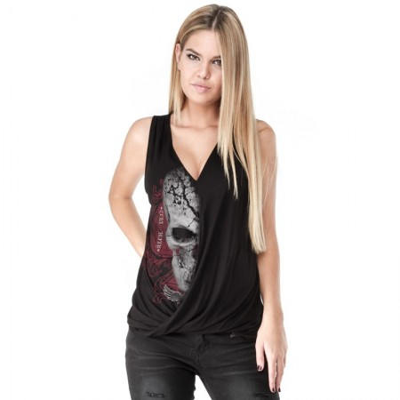 AEA Woman's Top Siberia  Devils Skull Pact Solid Black