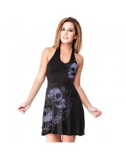 """AEA Woman's Dress Hasselt """" Dead Flowers""""  Solid Black"""