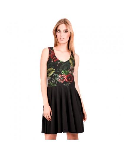 OV Woman's reversible dress Viana  hibiscus  Solid Black