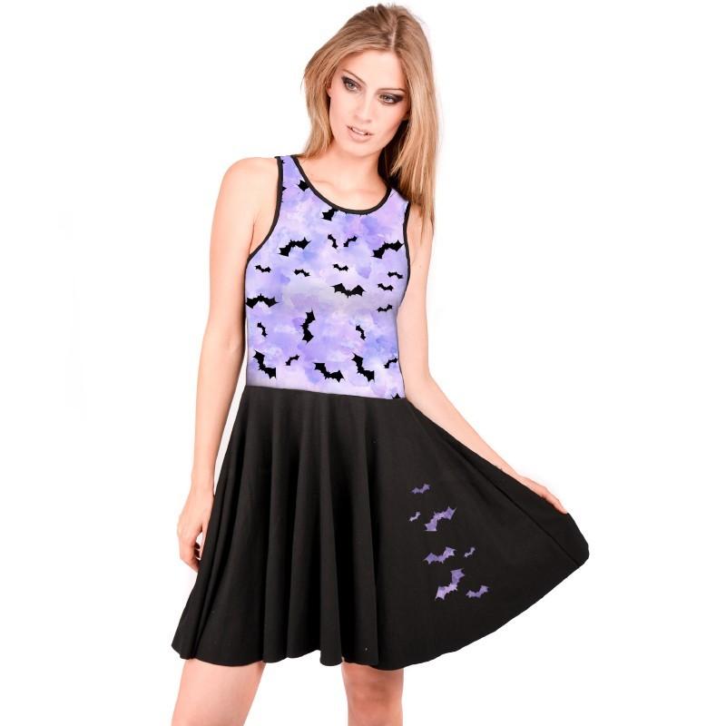 OV Woman's reversible dress Viana  Pastel bats sublima