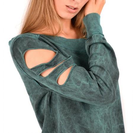 AEA Woman's Sweat-shirt Custom  Moon Child furious Blue