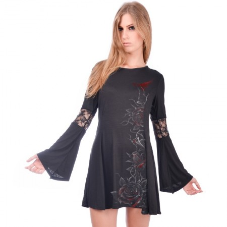 AEA Woman's Dress  Princesa  Bleeding Roses Solid Black