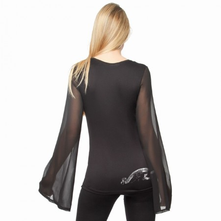 AEA Woman's Top Carolyn  Dames' Roses Solid Black