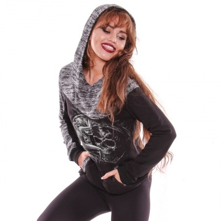 AEA Woman's Sweat-shirt Noda  The Moon Solid Black -Grey